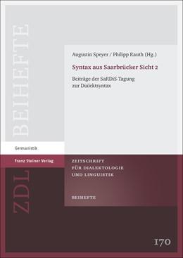 Abbildung von Speyer / Rauth | Syntax aus Saarbrücker Sicht 2 | 1. Auflage | 2018 | beck-shop.de