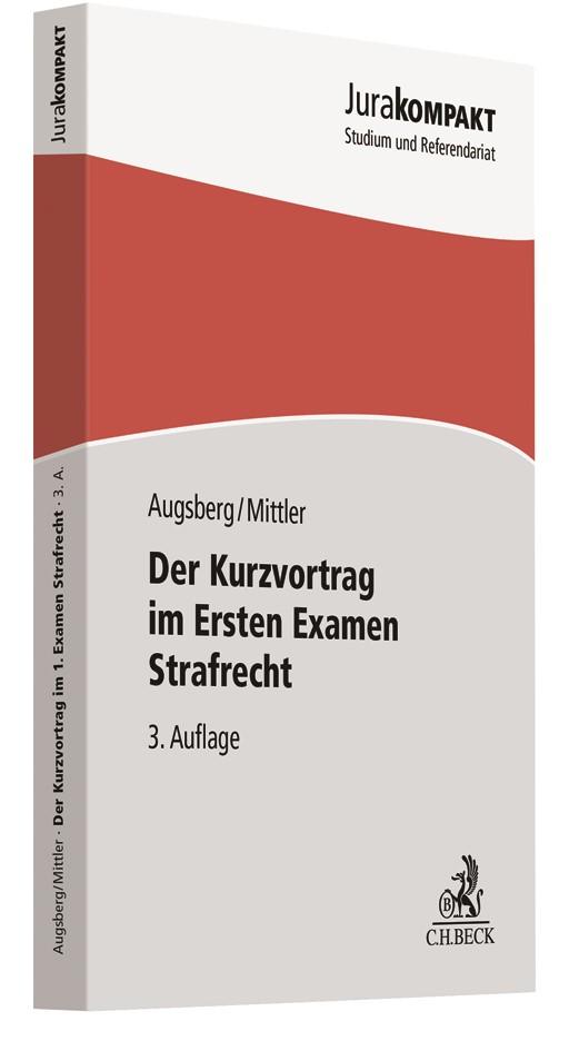 Der Kurzvortrag im Ersten Examen - Strafrecht | Augsberg / Mittler | 3. Auflage, 2019 | Buch (Cover)