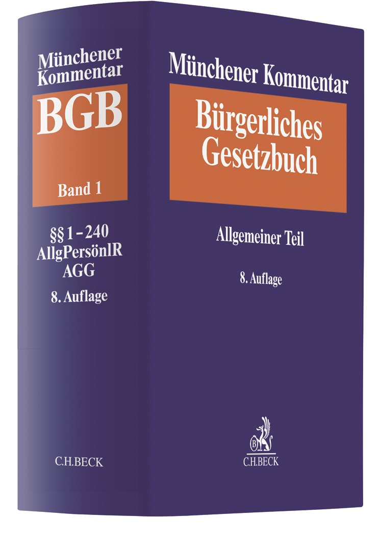Münchener Kommentar zum Bürgerlichen Gesetzbuch: BGB, Band 1: Allgemeiner Teil §§ 1-240, AllgPersönlR, ProstG, AGG | 8. Auflage, 2018 | Buch (Cover)