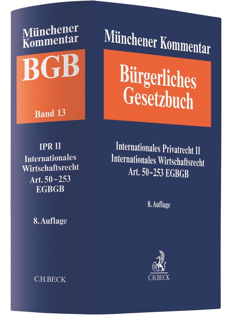 Münchener Kommentar zum Bürgerlichen Gesetzbuch: BGB, Band 13: Internationales Privatrecht II, IntWR, Art. 50-248 EGBGB | 8. Auflage, 2020 | Buch (Cover)
