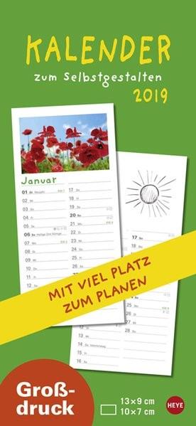 Kalender zum Selbstgestalten 2019 Großdruck, 2018 (Cover)