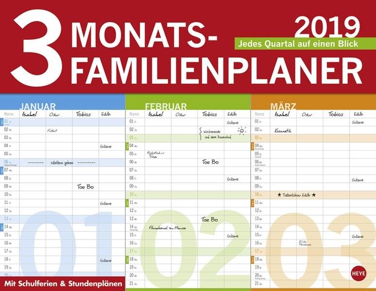 3-Monats Familienplaner 2019, 2018 (Cover)