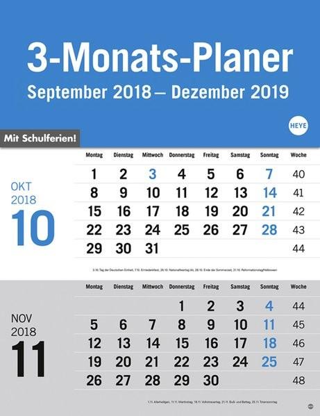3-Monats-Planer grau 2019, 2018 (Cover)