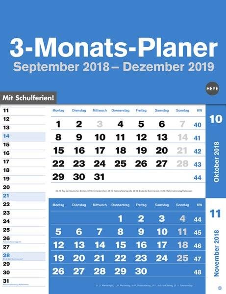 3-Monats-Planer blau 2019, 2018 (Cover)