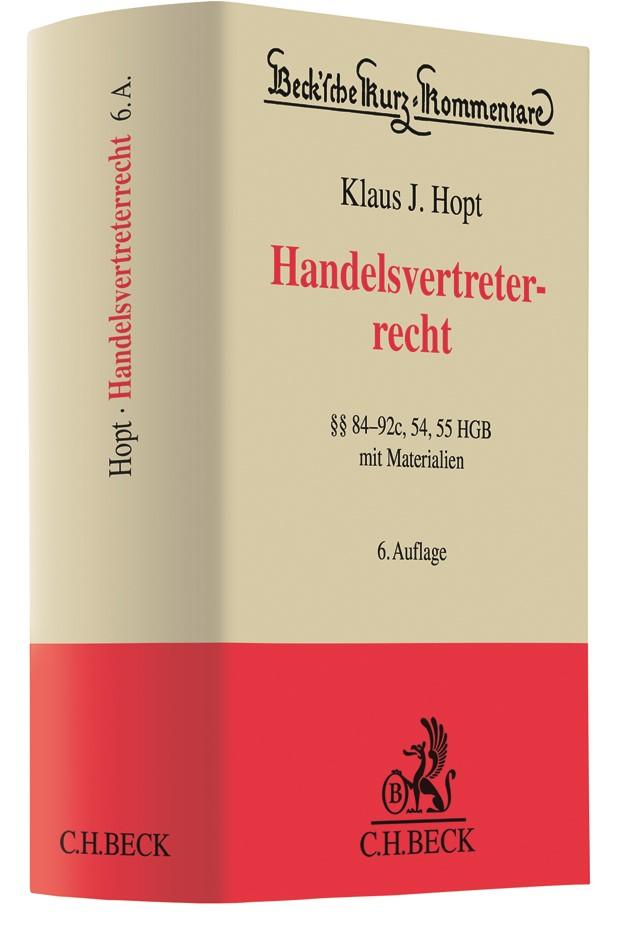 Handelsvertreterrecht | Hopt | 6., neubearbeitete Auflage, 2018 | Buch (Cover)