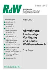 Abmahnung, Einstweilige Verfügung und neues Wettbewerbsrecht | Niebling | 3., überarbeitete Auflage, 2018 | Buch (Cover)