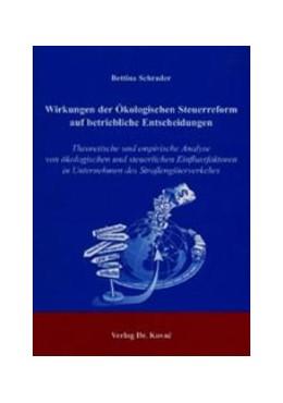 Abbildung von Schrader | Wirkungen der Ökologischen Steuerreform auf betriebliche Entscheidungen | 2003 | Theoretische und empirische An... | 1