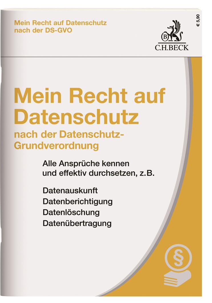 Mein Recht auf Datenschutz nach der neuen Datenschutz-Grundverordnung, 2018 | Buch (Cover)