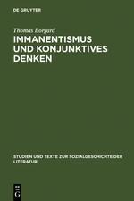Immanentismus und konjunktives Denken   Borgard   Reprint 2012, 1999   Buch (Cover)