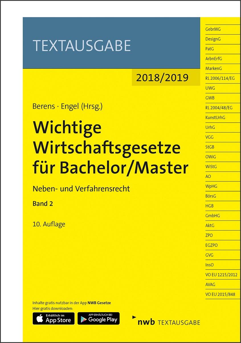 Wichtige Wirtschaftsgesetze für Bachelor/Master 2 | Berens / Engel | 10. Auflage, 2018 | Buch (Cover)