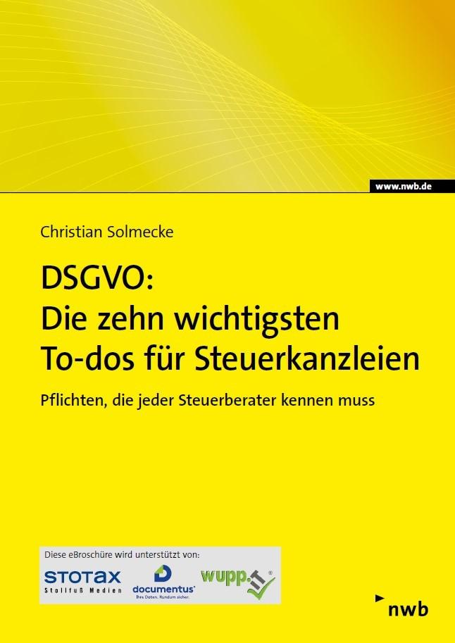 DSGVO: Die zehn wichtigsten To-dos für Steuerkanzleien - eFachinfo-Broschüre | Solmecke | Buch (Cover)