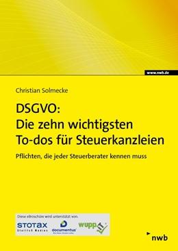 Abbildung von Solmecke   DSGVO: Die zehn wichtigsten To-dos für Steuerkanzleien - eFachinfo-Broschüre   1. Auflage   2018   beck-shop.de