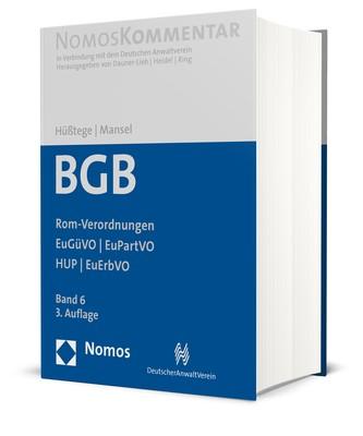 Abbildung von Hüßtege / Mansel   Bürgerliches Gesetzbuch: BGB,  Band 6: Rom-Verordnungen - EuGüVO - EuPartVO - HUP - EuErbVO   3. Auflage   2019