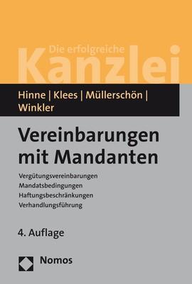 Vereinbarungen mit Mandanten | Hinne / Klees / Müllerschön / Winkler | 4. Auflage, 2019 | Buch (Cover)