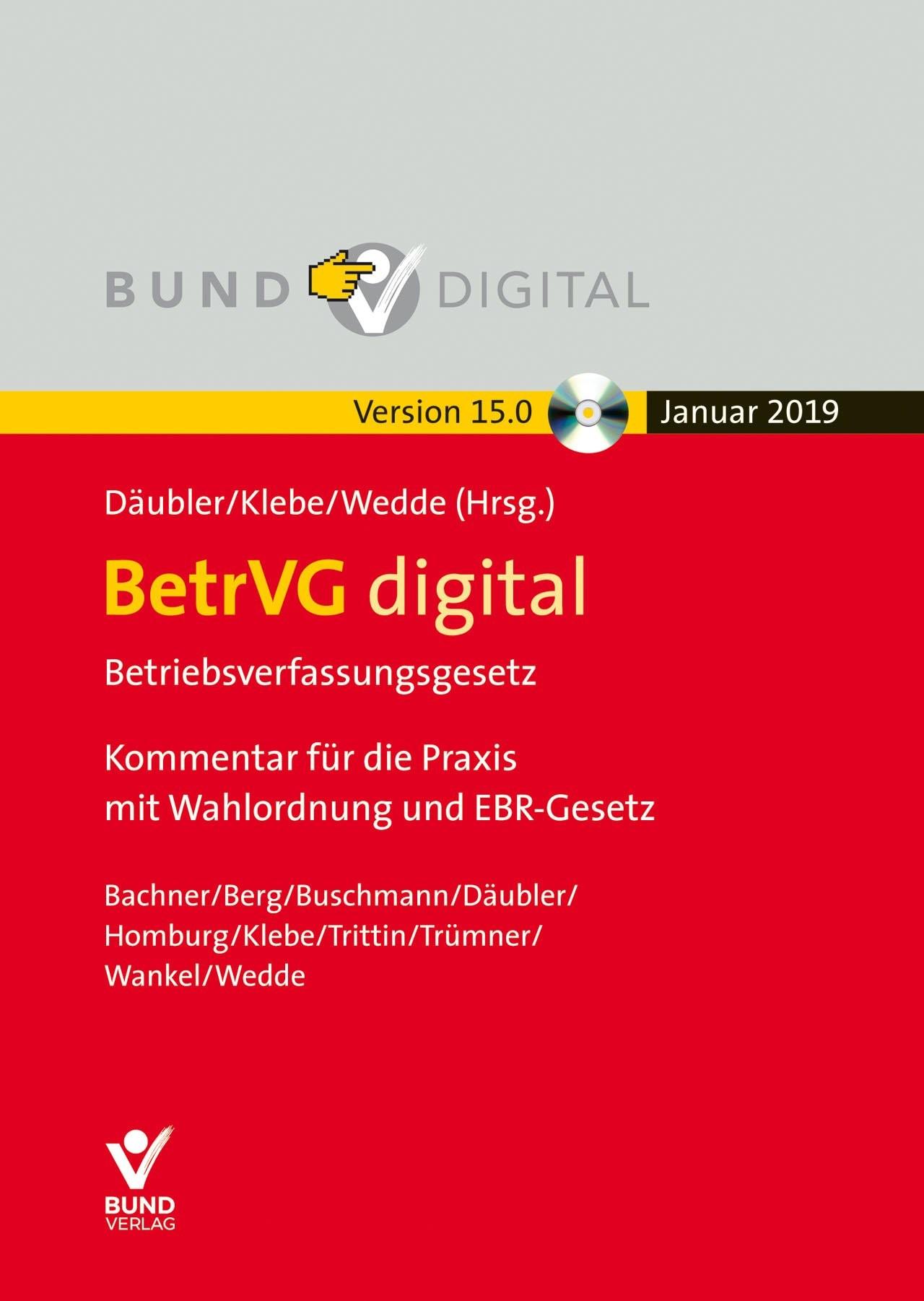 BetrVG digital Vers.15.0 - Fortsetzungsbezug | Däubler / Klebe / Wedde (Hrsg.) | 15. Auflage, 2018 (Cover)