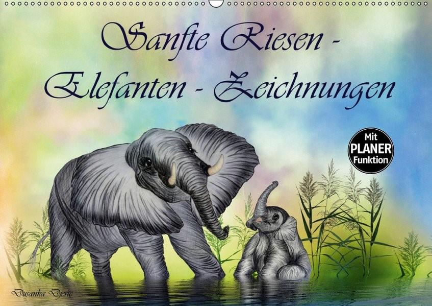 Abbildung von Djeric | Sanfte Riesen - Elefanten-Zeichnungen (Wandkalender 2019 DIN A2 quer) | 4. Edition 2018 | 2018