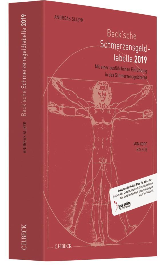 Beck'sche Schmerzensgeld-Tabelle 2019 | Slizyk | 15., überarbeitete und aktualisierte Auflage, 2018 (Cover)
