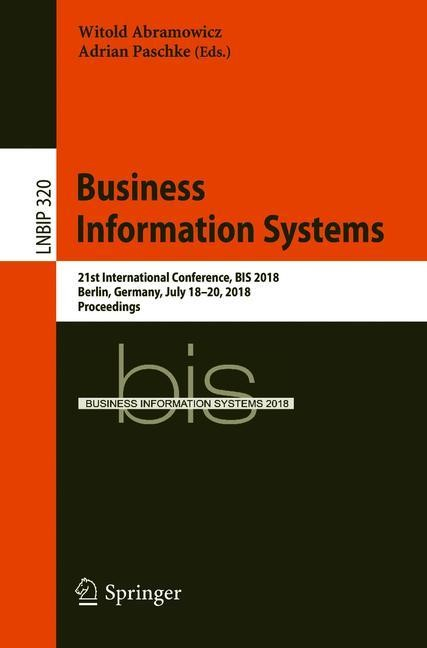 Business Information Systems   Abramowicz / Paschke   1st ed. 2018, 2018   Buch (Cover)