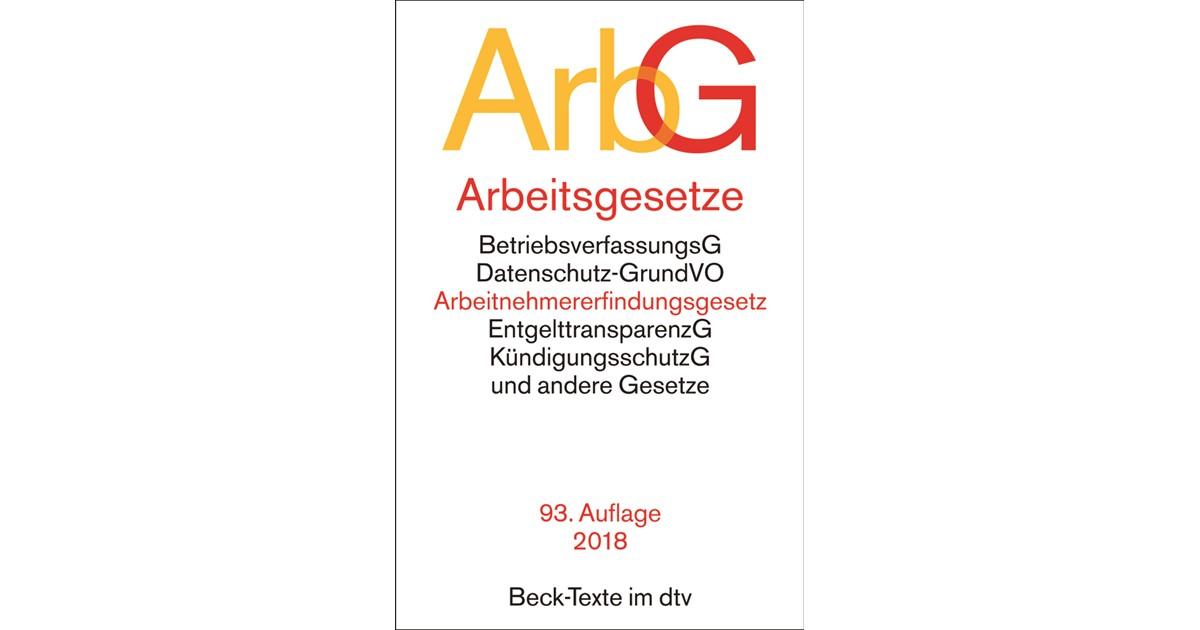 Arbeitsgesetze Arbg 93 Neu Bearbeitete Auflage 2018 Buch