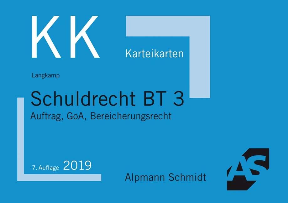 Karteikarten Schuldrecht BT 3 | Langkamp | 7. Auflage, 2018 (Cover)