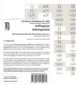 Abbildung von Dürckheim | Arbeitsgesetze Griffregister Nr. 2061: selbstklebende und bedruckte Griffregister | 7., komplett überarbeitete Auflage | 2018 | (BGB, AGG, KschG, SGB, BEEG, B...