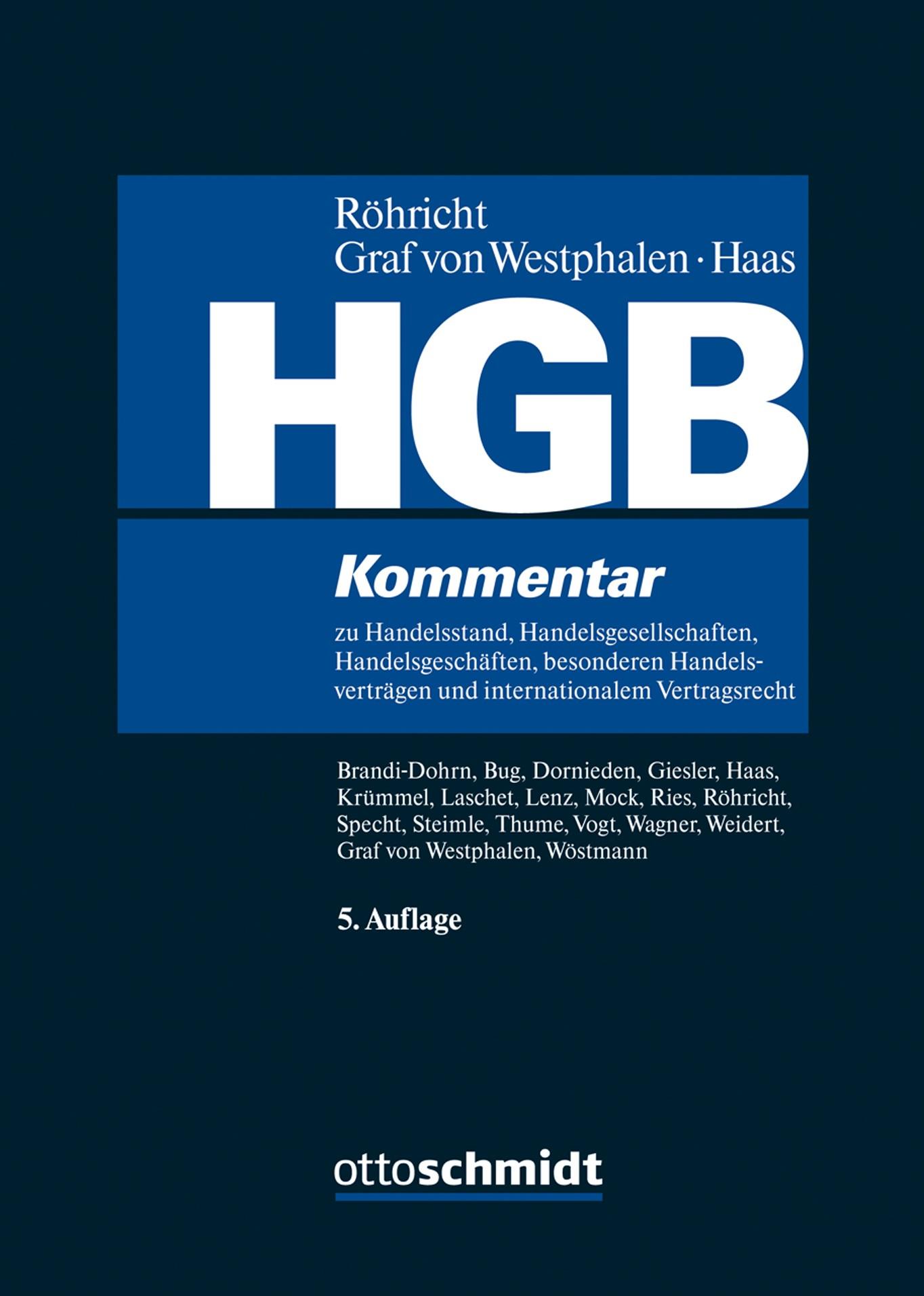 HGB | Röhricht / von Westphalen / Haas (Hrsg.) | 5., neu bearbeitete Auflage, 2019 | Buch (Cover)