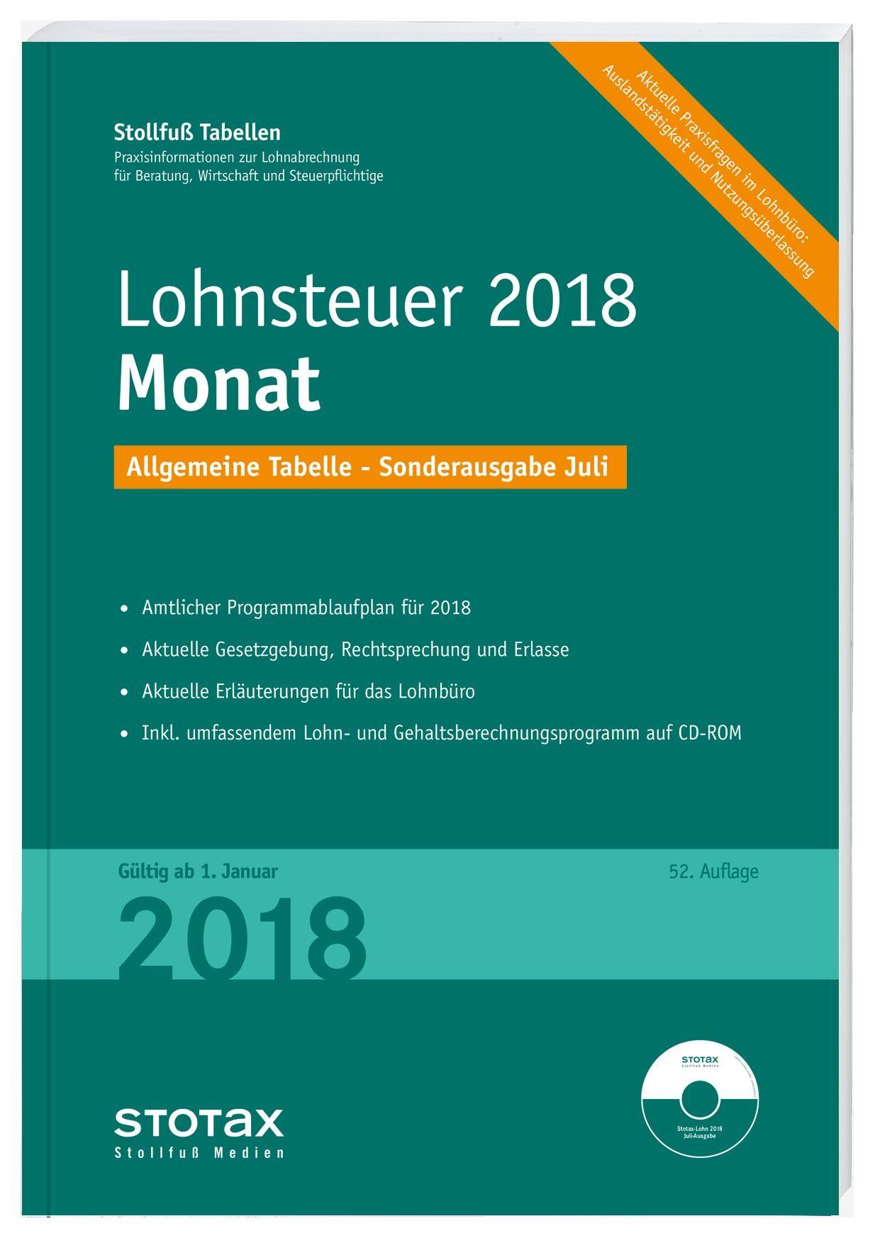 Tabelle, Lohnsteuer 2018 Monat - Sonderausgabe Juli | 2017, 2018 | Buch (Cover)