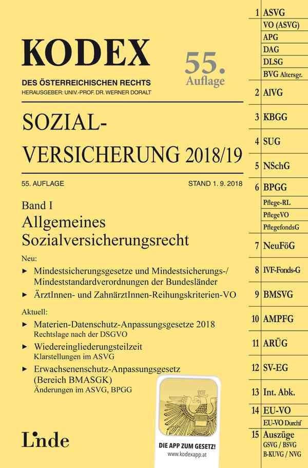 Abbildung von Brameshuber / Doralt | KODEX Sozialversicherung 2018/19, Band I | 55. Auflage 2018, Stand 1.9.2018 | 2018