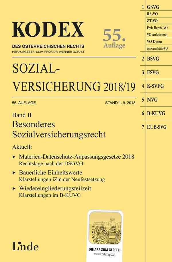 KODEX Sozialversicherung 2018/19, Band II | Brameshuber / Doralt | 55. Auflage, Stand 1.9.2018, 2018 | Buch (Cover)