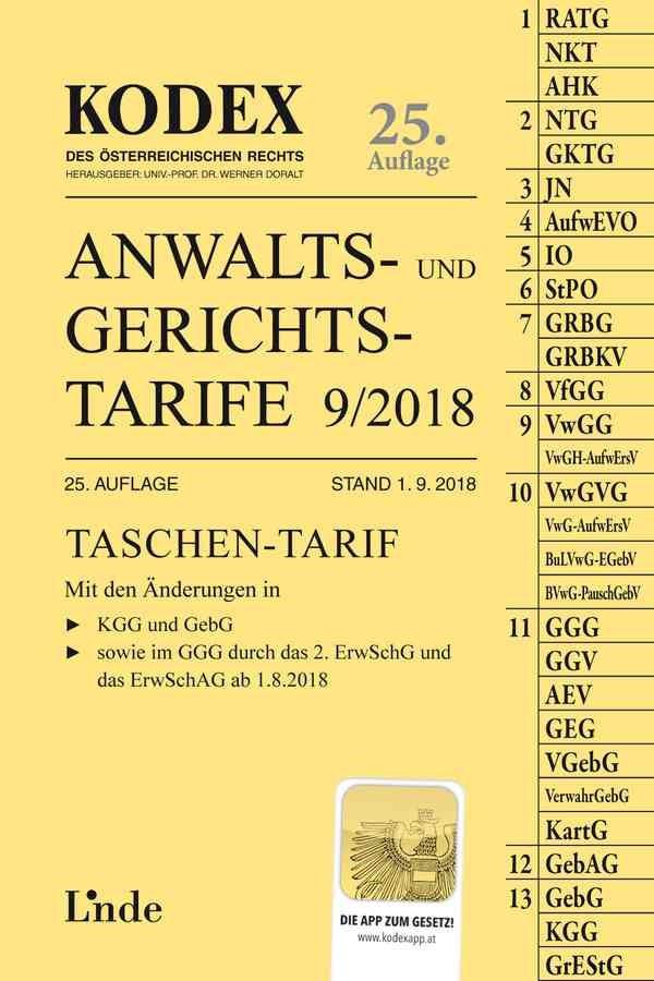 Abbildung von Dokalik / Doralt   KODEX Anwalts- und Gerichtstarife 9/2018   25. Auflage 2018, Stand 1.9.2018   2018