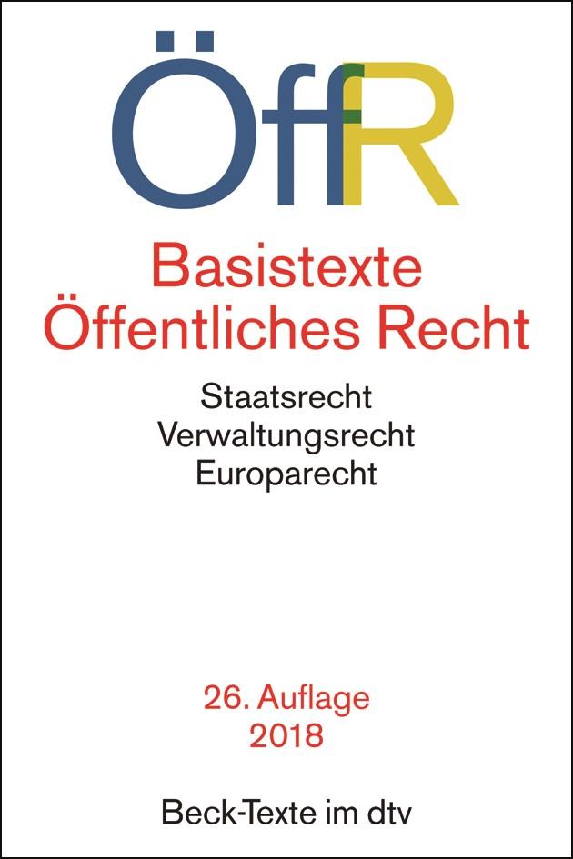 Basistexte Öffentliches Recht: ÖffR   26. Auflage, 2018   Buch (Cover)