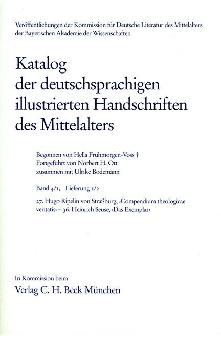 Cover: , Katalog der deutschsprachigen illustrierten Handschriften des Mittelalters Band 4/1, Lfg. 1/2: 27-36
