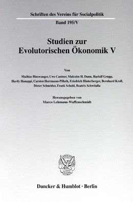 Abbildung von Lehmann-Waffenschmidt   Studien zur Evolutorischen Ökonomik V.   1. Auflage   2002   beck-shop.de