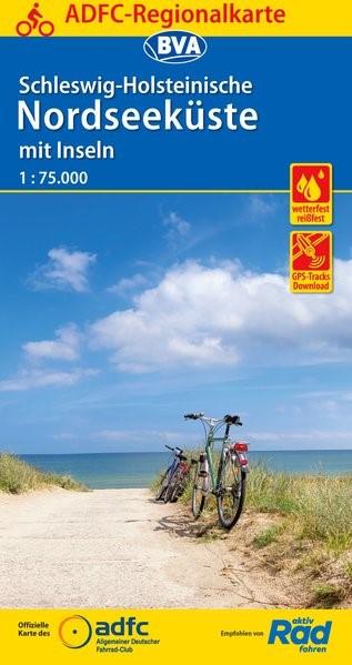 ADFC-Regionalkarte Schleswig-Holsteinische Nordseeküste mit Inseln mit Tagestouren-Vorschlägen 1:75.000   6. Auflage, 2018 (Cover)