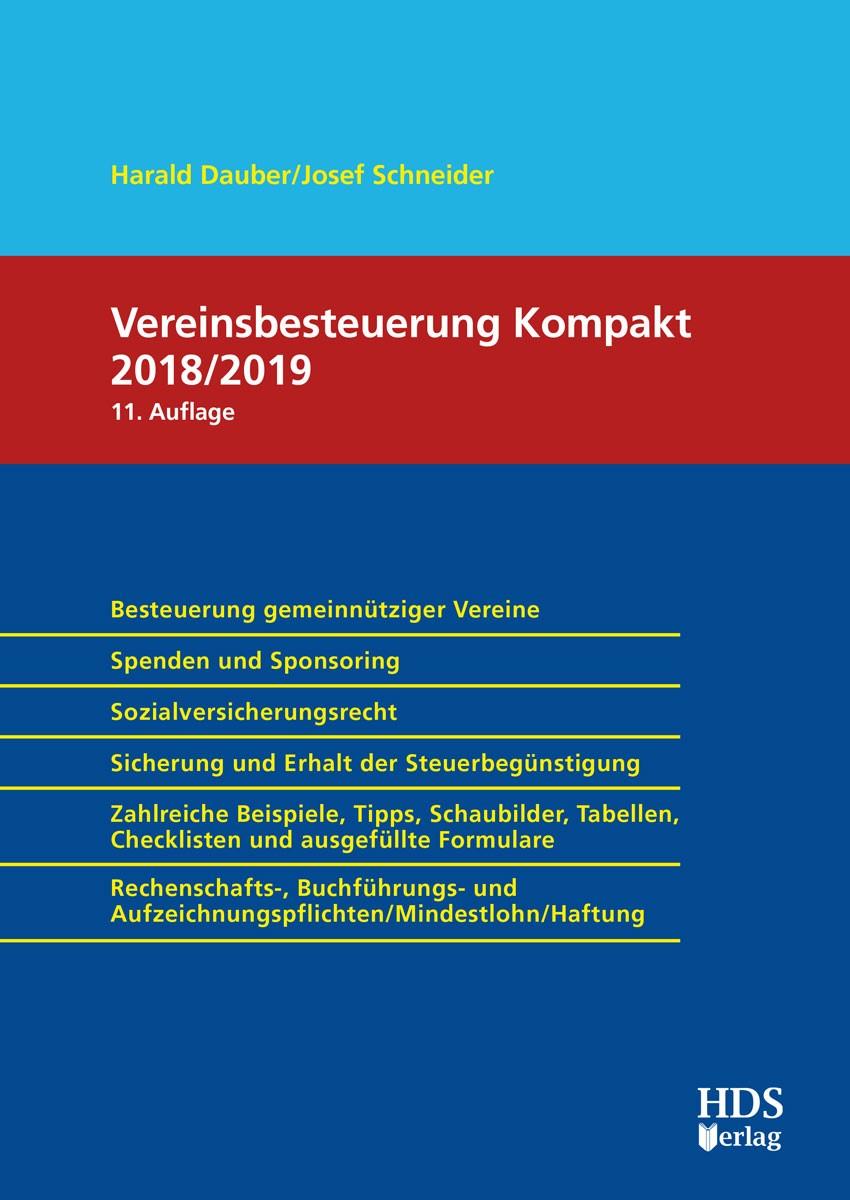 Vereinsbesteuerung Kompakt 2018/2019 | Dauber / Schneider | 11. Auflage, 2018 | Buch (Cover)
