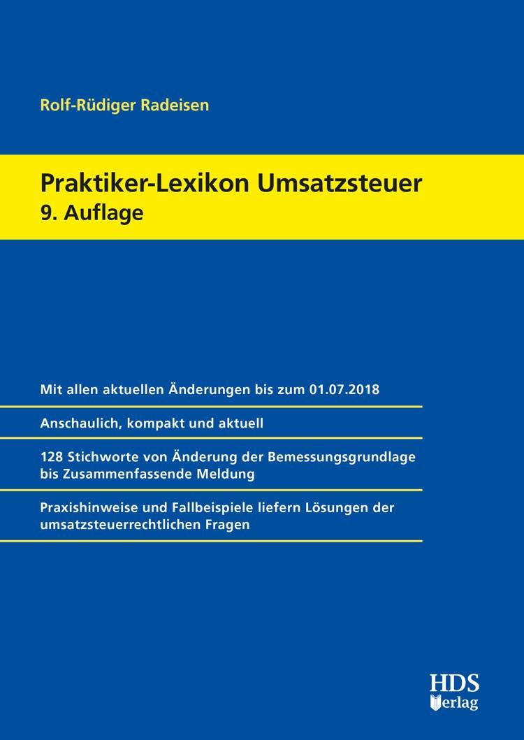 Praktiker-Lexikon Umsatzsteuer   Radeisen   9. Auflage, 2018   Buch (Cover)