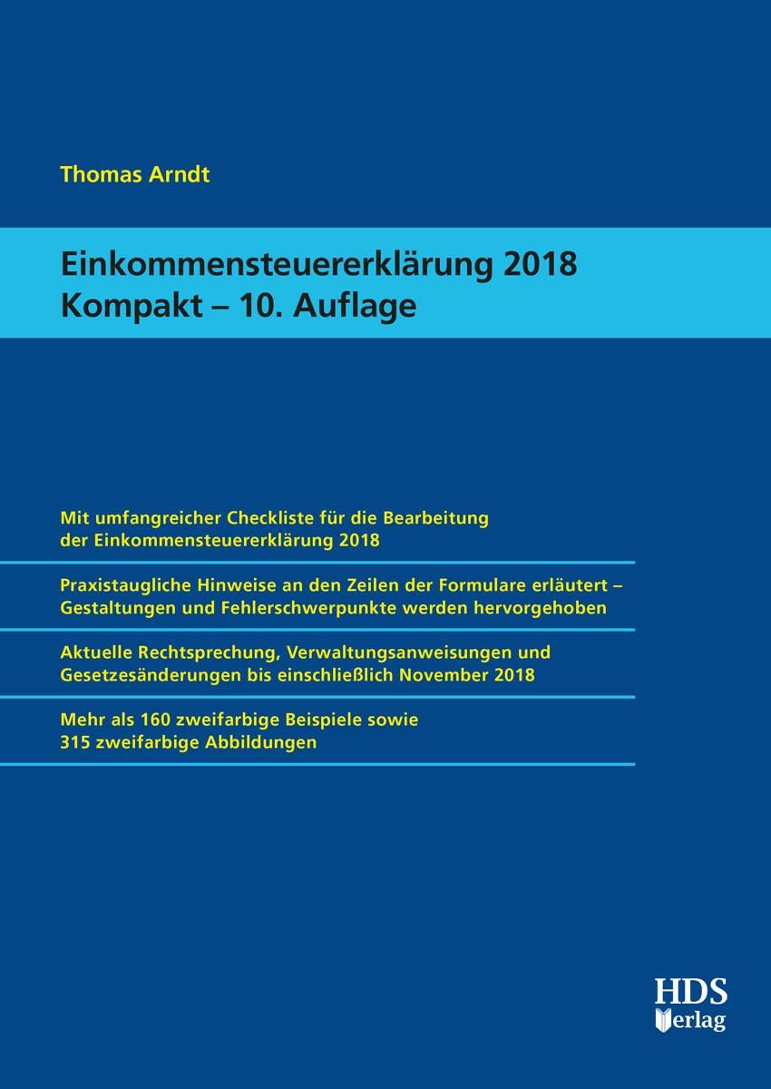 Einkommensteuererklärung 2018 Kompakt   Arndt   10. Auflage, 2019   Buch (Cover)