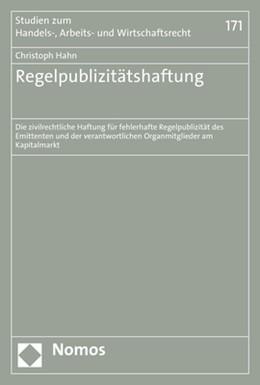 Abbildung von Hahn   Regelpublizitätshaftung   1. Auflage   2018   beck-shop.de