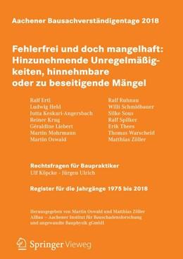 Abbildung von Oswald / Zöller | Aachener Bausachverständigentage 2018 | 1. Auflage | 2018 | beck-shop.de