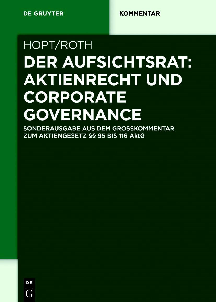 Der Aufsichtsrat: Aktienrecht und Corporate Governance | Hopt / Roth, 2018 | Buch (Cover)