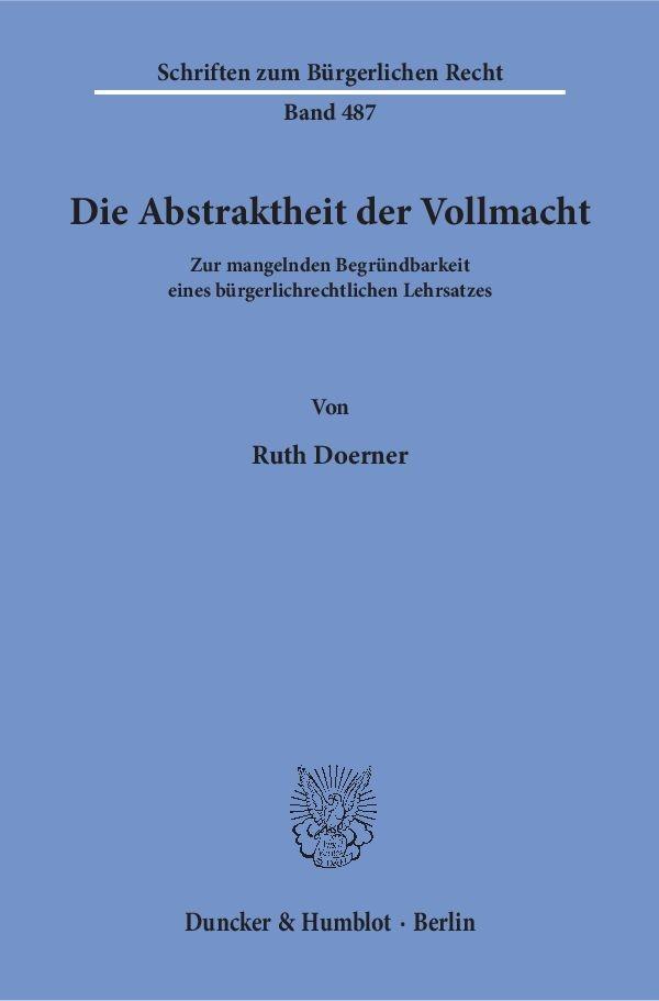 Abbildung von Doerner | Die Abstraktheit der Vollmacht | 2018