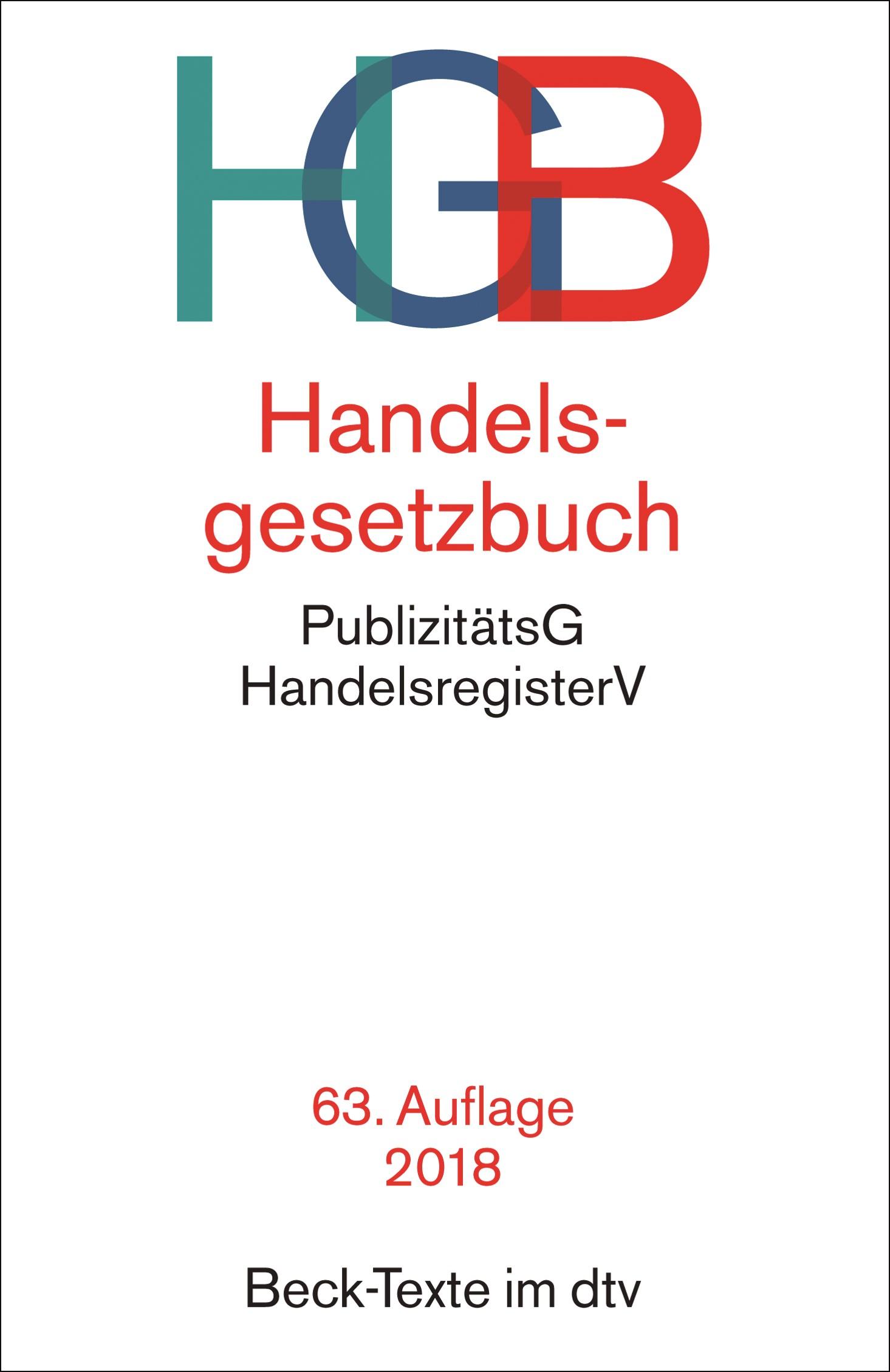 Handelsgesetzbuch: HGB | 63., überarbeitete Auflage, 2018 | Buch (Cover)