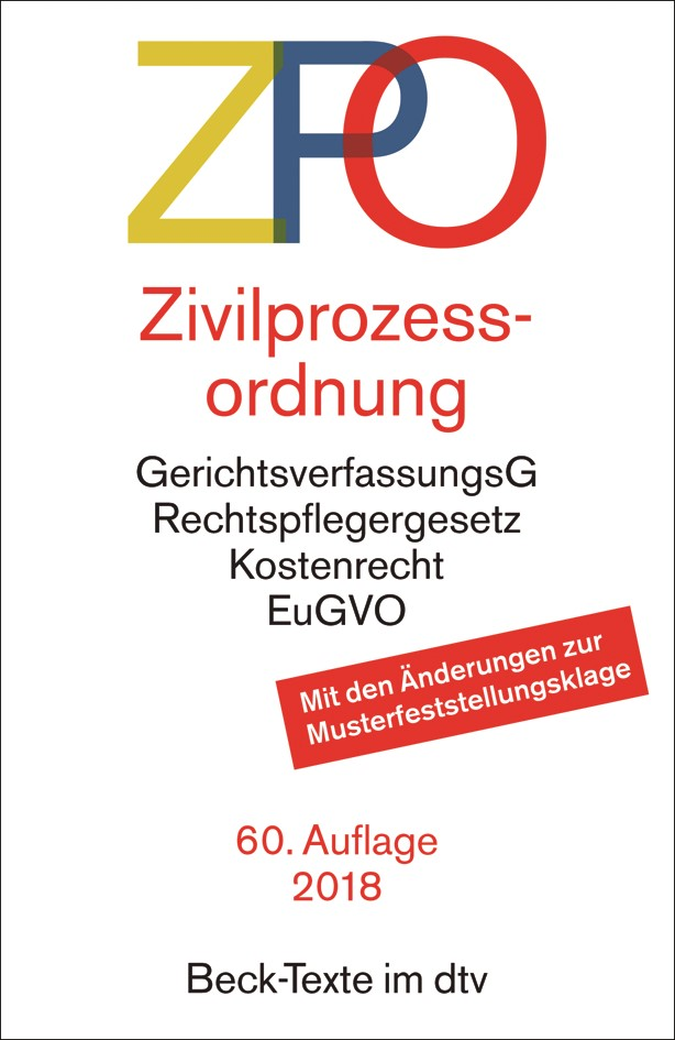 Abbildung von Zivilprozessordnung: ZPO | 60., überarbeitete Auflage | 2018