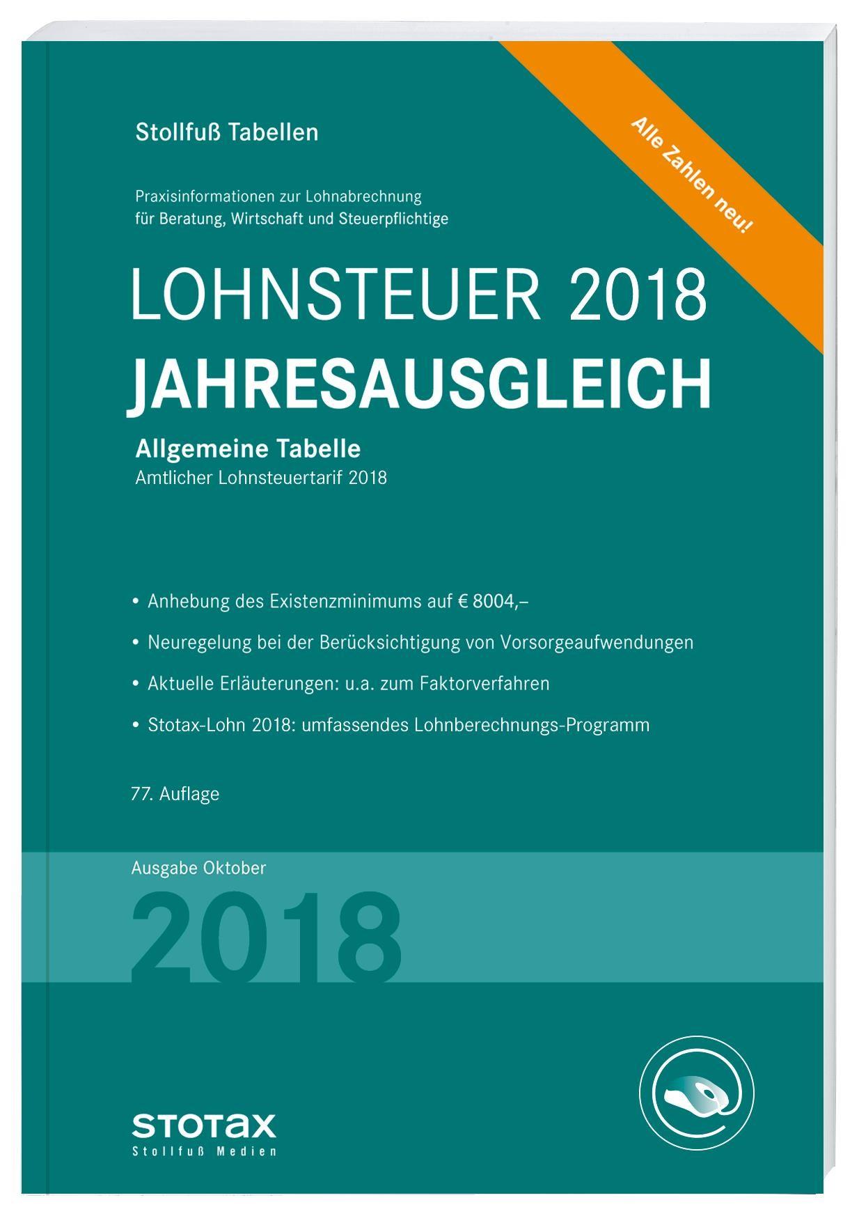 Tabelle, Lohnsteuer Jahresausgleich 2018, 2018 | Buch (Cover)
