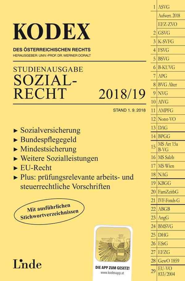 KODEX Sozialrecht 2018/19 | Brameshuber / Doralt | 2. Auflage 2018, Stand 1.9.2018, 2018 | Buch (Cover)