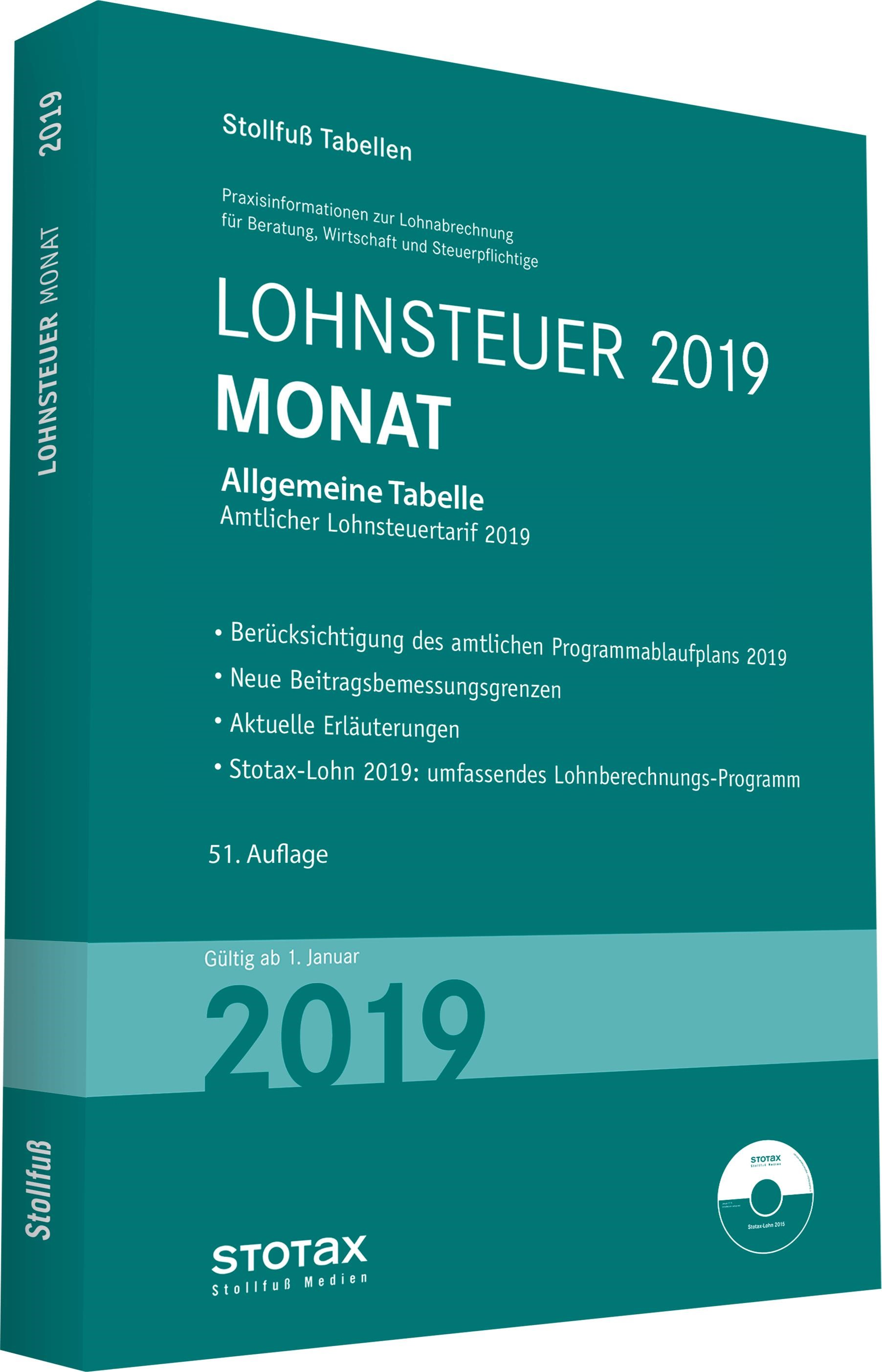 Tabelle, Lohnsteuer 2019 Monat   2019, 2019   Buch (Cover)