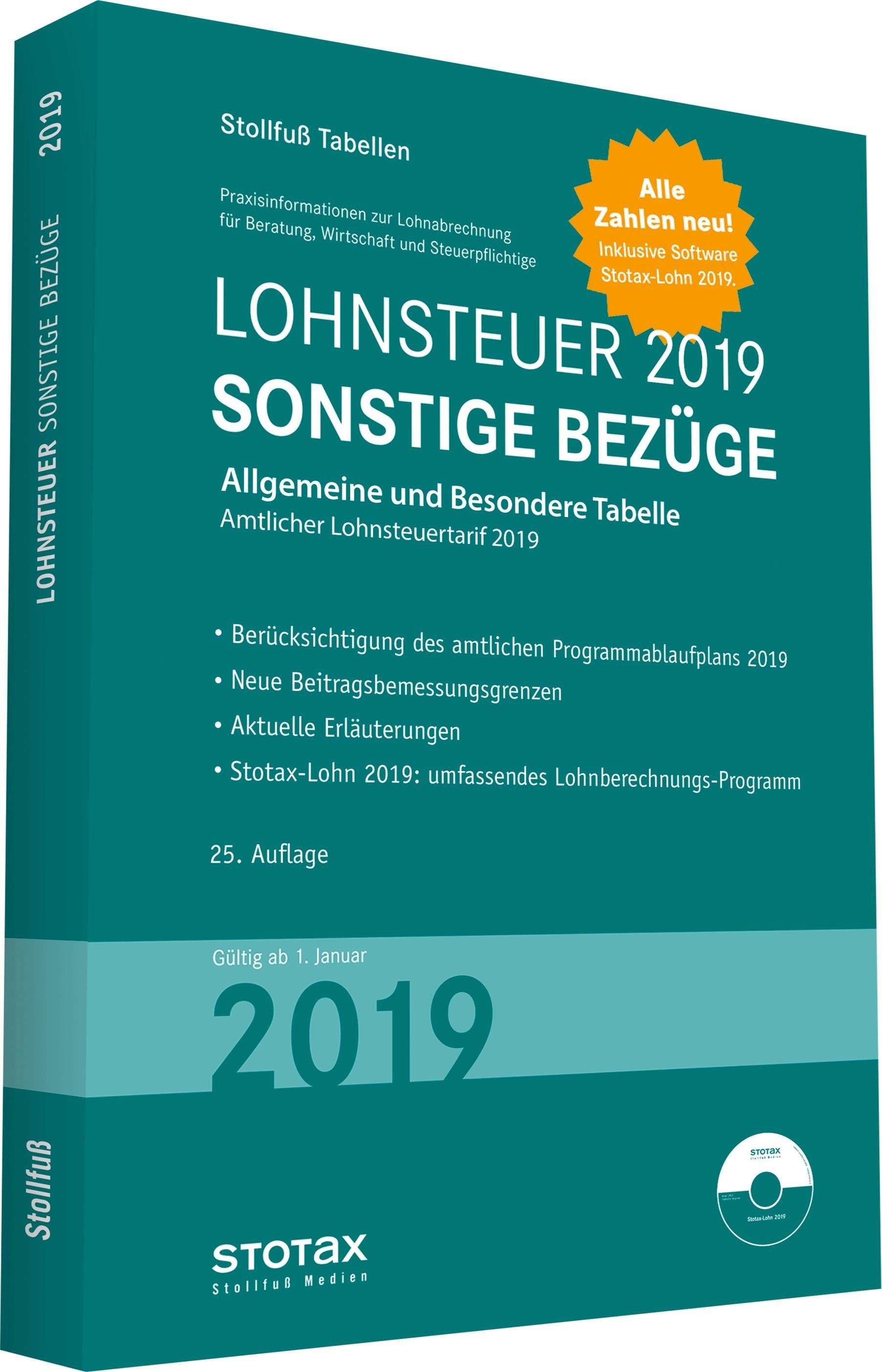 Tabelle, Lohnsteuer 2019 Sonstige Bezüge | 2019, 2018 | Buch (Cover)