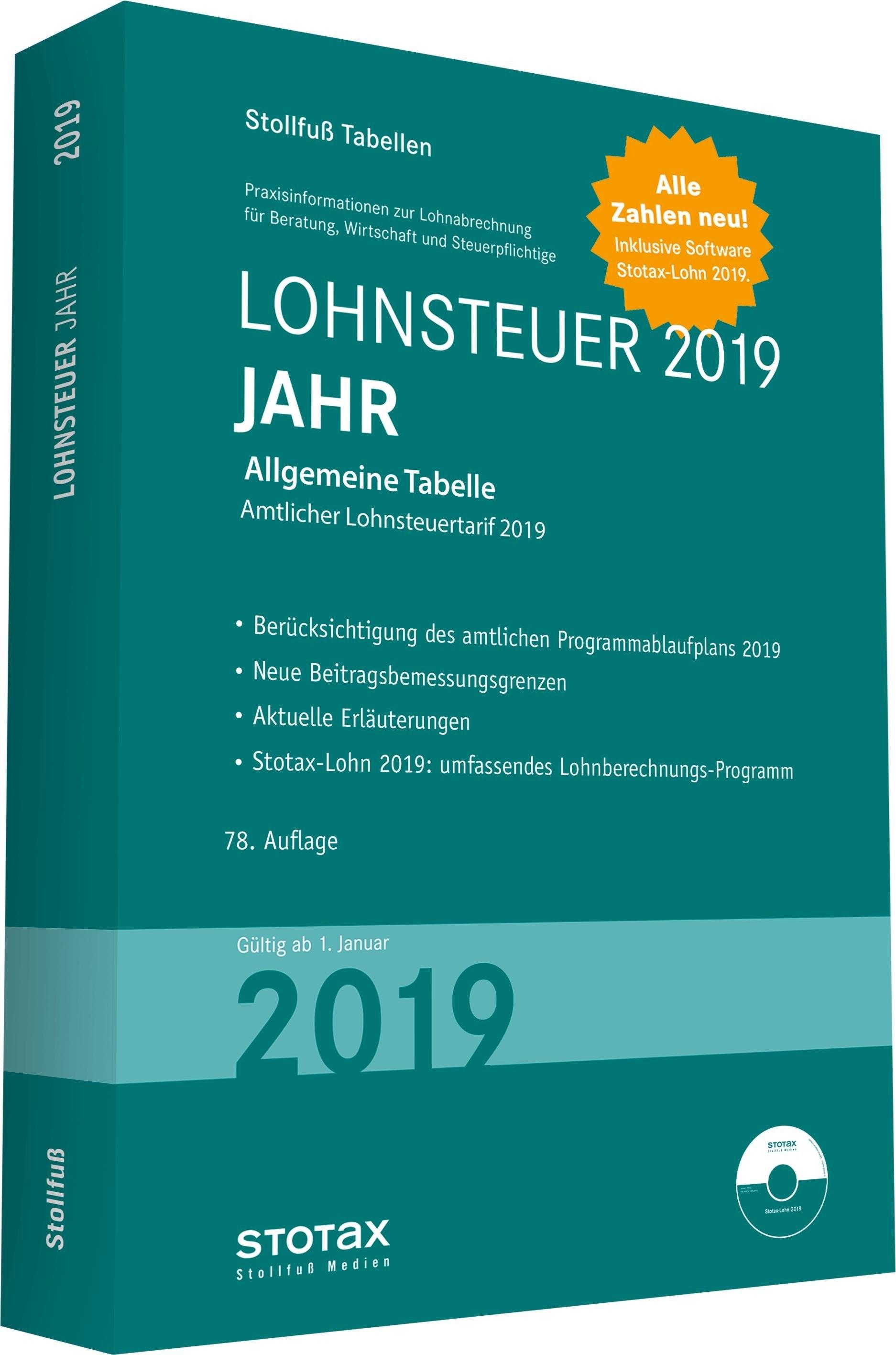 Tabelle, Lohnsteuer 2019 Jahr | 2019, 2019 | Buch (Cover)