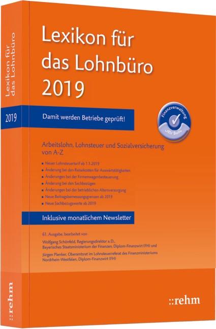 Lexikon für das Lohnbüro 2019 | Schönfeld / Plenker | 61. Auflage, 2019 | Buch (Cover)