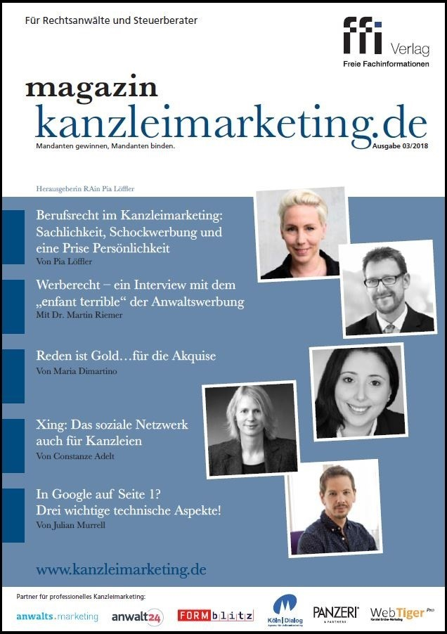 magazin kanzleimarketing.de | 3/2018 (Cover)